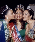 Subrina, being congratulated by Anjali (First Runner Up) & Diva (Second Runner Up)
