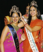 Trina Chakravarty, being crowned by the outgoing queen Reshoo Pande