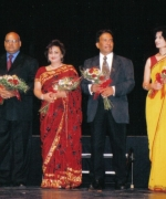 The Judges (from left to right), Dr. Pallavi Patel (Pediatrician & Philanthropist), Promod Gupta (Regional Director of Air India), Anjana Trivedi (Fashion Designer from India), Dr. Shashi Aggarwal (Cardiologist), Renu Khatour (Provost City Of South Florida), and Dr. Amit Chakravarty (from Alabama)