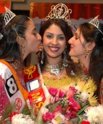 Richa, being congratulated by first runner-up, Neha Multani (R) and second runner-up, Nisha Palvia (L)