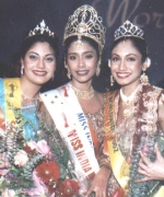 The Top Three, Ekta Bhatt (Second Runner Up From Tanzania), The Winner Sarika Sukhdeo and Tricia Bhin (First Runner Up From Trinidad)
