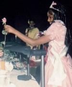 Chief judge Vivian Reddy, recieving a rose