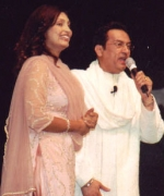 Shekhar Suman, complimenting Santripti Vellody on her singing